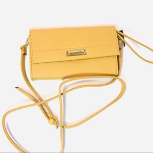 Tahari small yellow crossbody purse